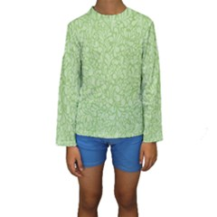 Green pattern Kids  Long Sleeve Swimwear