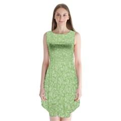 Green pattern Sleeveless Chiffon Dress