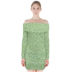 Green pattern Long Sleeve Off Shoulder Dress