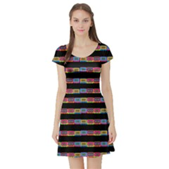 color020a Short Sleeve Skater Dress Mixed Tapes