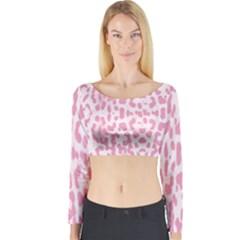 Leopard pink pattern Long Sleeve Crop Top