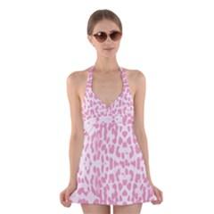 Leopard pink pattern Halter Swimsuit Dress