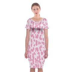 Leopard pink pattern Classic Short Sleeve Midi Dress