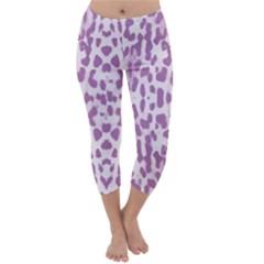 Purple leopard pattern Capri Winter Leggings