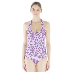 Purple leopard pattern Halter Swimsuit