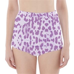 Purple leopard pattern High-Waisted Bikini Bottoms