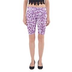 Purple leopard pattern Yoga Cropped Leggings