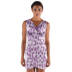 Purple leopard pattern Wrap Front Bodycon Dress