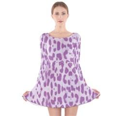 Purple leopard pattern Long Sleeve Velvet Skater Dress
