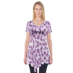 Purple leopard pattern Short Sleeve Tunic