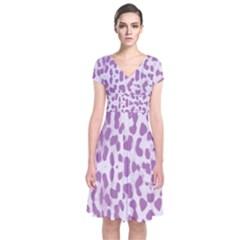 Purple leopard pattern Short Sleeve Front Wrap Dress