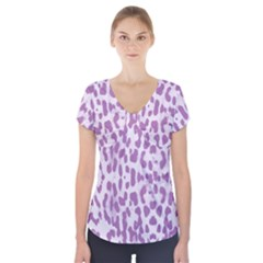 Purple leopard pattern Short Sleeve Front Detail Top