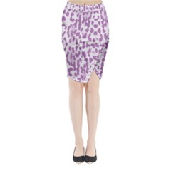 Purple leopard pattern Midi Wrap Pencil Skirt