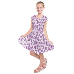 Purple leopard pattern Kids  Short Sleeve Dress