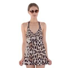 Leopard pattern Halter Swimsuit Dress