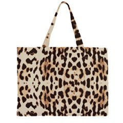 Leopard pattern Zipper Large Tote Bag