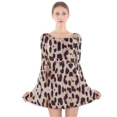 Leopard pattern Long Sleeve Velvet Skater Dress