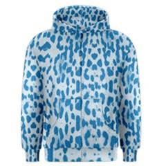 Blue leopard pattern Men s Zipper Hoodie