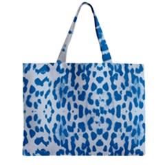 Blue leopard pattern Zipper Mini Tote Bag