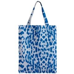 Blue leopard pattern Zipper Classic Tote Bag