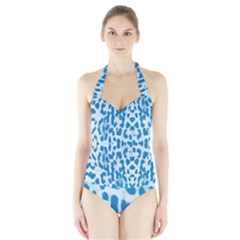 Blue leopard pattern Halter Swimsuit
