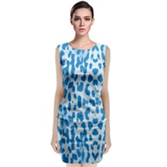 Blue leopard pattern Classic Sleeveless Midi Dress