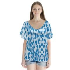 Blue leopard pattern Flutter Sleeve Top