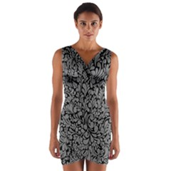 Pattern Wrap Front Bodycon Dress