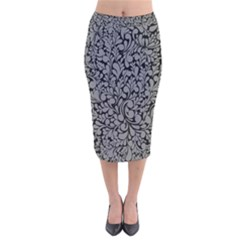 Pattern Velvet Midi Pencil Skirt