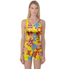 Butterflies  One Piece Boyleg Swimsuit