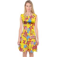 Butterflies  Capsleeve Midi Dress