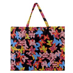 Butterflies Zipper Large Tote Bag