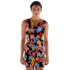 Butterflies Wrap Front Bodycon Dress