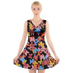 Butterflies V-Neck Sleeveless Skater Dress
