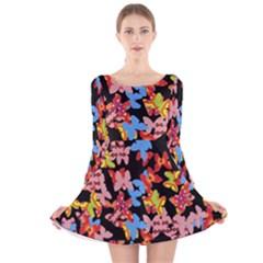 Butterflies Long Sleeve Velvet Skater Dress