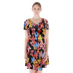 Butterflies Short Sleeve V-neck Flare Dress