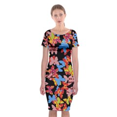 Butterflies Classic Short Sleeve Midi Dress