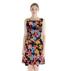 Butterflies Sleeveless Chiffon Waist Tie Dress