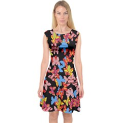 Butterflies Capsleeve Midi Dress