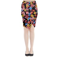 Butterflies Midi Wrap Pencil Skirt
