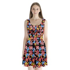 Butterflies Split Back Mini Dress