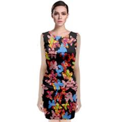 Butterflies Sleeveless Velvet Midi Dress