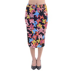 Butterflies Velvet Midi Pencil Skirt