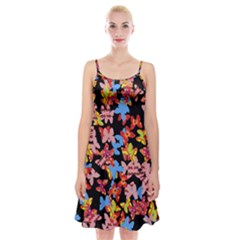 Butterflies Spaghetti Strap Velvet Dress