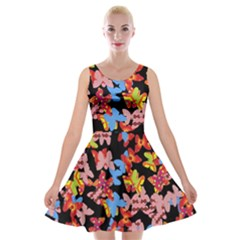 Butterflies Velvet Skater Dress