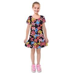 Butterflies Kids  Short Sleeve Velvet Dress