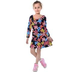 Butterflies Kids  Long Sleeve Velvet Dress