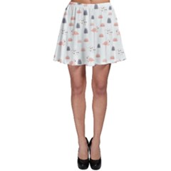 Cute Flamingos And  Leaves Pattern Skater Skirt