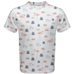 Cute Flamingos And  Leaves Pattern Men s Cotton Tee