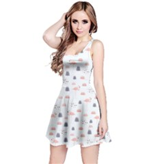 Cute Flamingos And  Leaves Pattern Reversible Sleeveless Dress